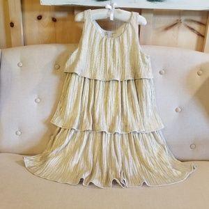 Gap shimmering gold tiered dress